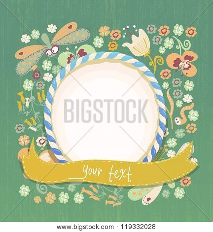 Floral background with flowers lisaves and dragonflies. Vector