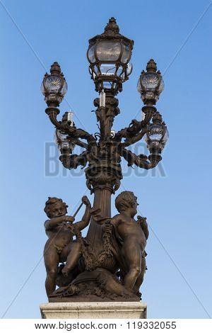 The Bronze Lamp On Bridge Alexandre Iii