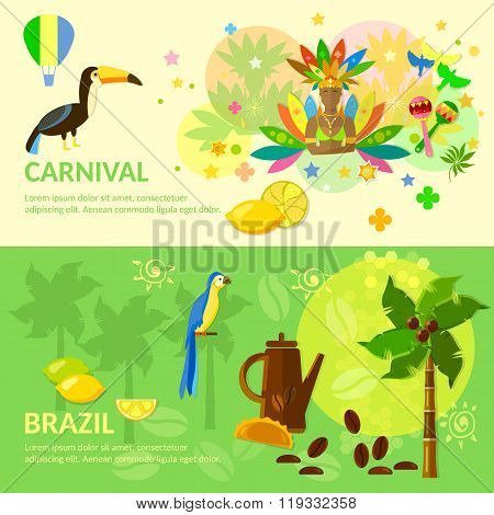 Brazilian Carnival  Brazil Banners Brazilian Culture Vector Illustration