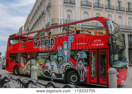 Madrid, Spain - april 23, 2015: Tourist Bus In Madrid, Spain.