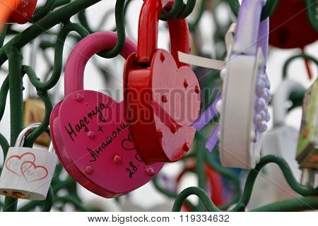 Closed Padlocks In The Form Of Heart.