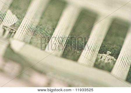 Macro of the back of the U.S. Five Dollar Bill showing Lincoln Statue