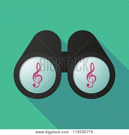 Illustration Of A Binoculars Viewing A G Clef