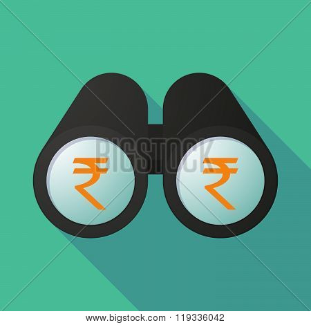 Illustration Of A Binoculars Viewing A Rupee Sign