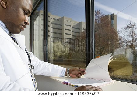 Doctor looking at paperwork