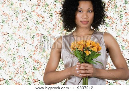 Woman holding lilies