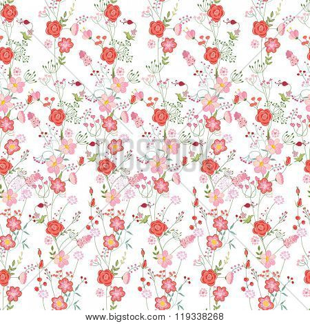 Floral seamless pattern made of red roses and stylized flowers. Endless texture for romantic  design, decoration,  greeting cards, posters,  invitations, advertisement.