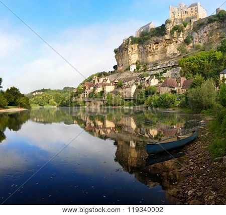 Town Of Beynac-et-cazenac Alongside Dordogne River