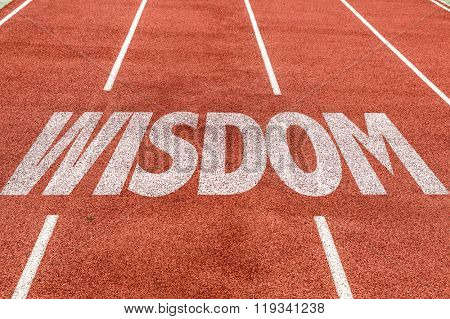 Wisdom written on running track