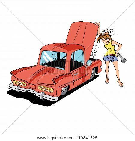 Woman repair car