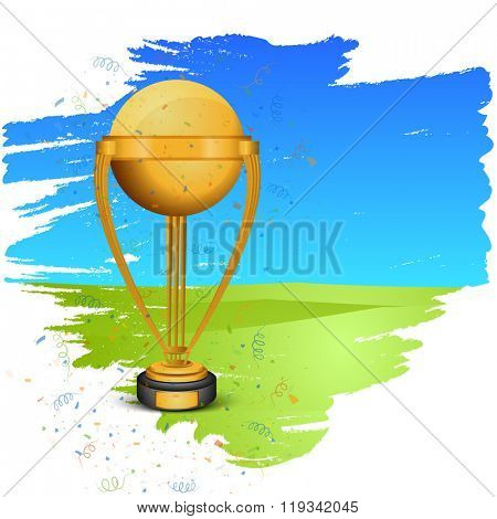 Creative golden Trophy on stylish blue and green background for Cricket Sports concept.