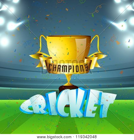 Glossy golden Trophy with Champions ribbon and 3D text Cricket on night stadium lights background.