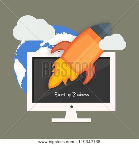 Start up Business concept with flying rocket over desktop.