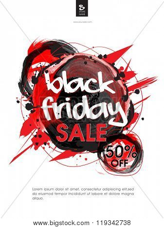 Black Friday Sale Poster, Banner or Pamphlet with 50% discount offer.
