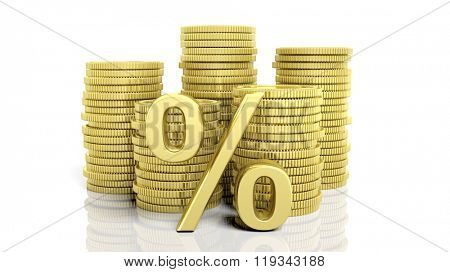 Stacks of golden coins and a percentage symbol, isolated on white background.