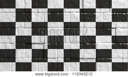 Brick wall with painted flag of Formula One