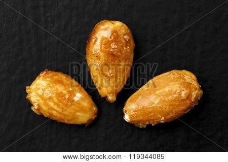Caramelised almonds.