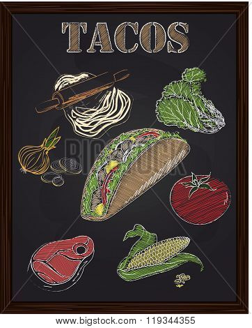 Tacos With Ingredients Salad Tomato Onion Cheese Corn Beef
