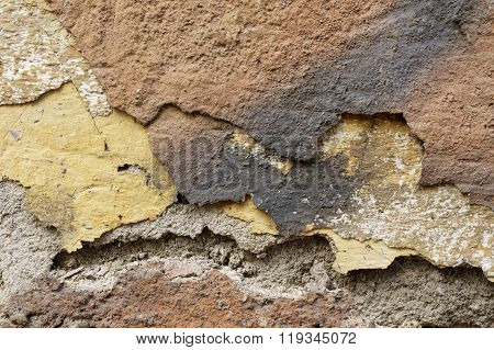 Close Up Of Crumbling  Wall With Layers Of Peeled Paint 6