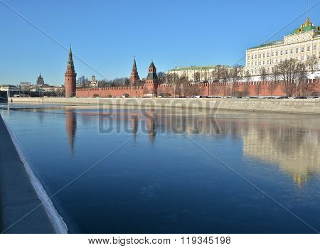 Moscow Kremlin And Embankment Of The Moscow River.