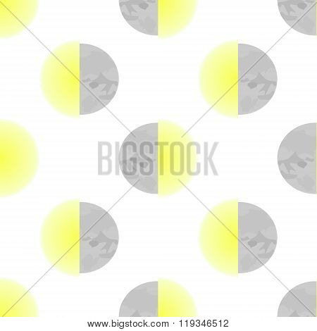 Moon And Sun Seamles Vector Illustration