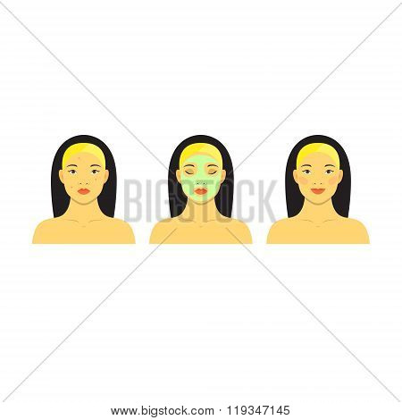 Icon set for skincare infographic. Colorful vector image illustrated steps of washing of pretty asia