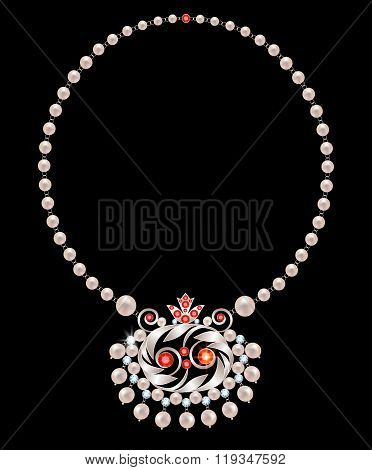 Pearl necklace with rubies