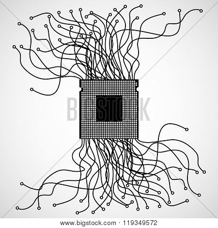 Cpu. Microprocessor. Abstract chaotic lines
