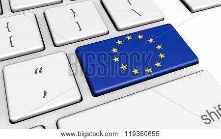 European Union Eu Flag On Computer Key