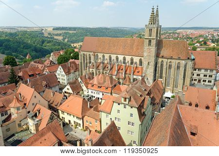 ROTHENBURG OB DER TAUBER GERMANY - AUGUST 10, 2015: Aerial view of St. James church in Rothenburg ob der Tauber in Bavaria Germany. It serves as a church on the pilgrimage route to St. James Church in Santiago de Compostela in Spain.