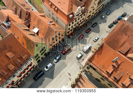 ROTHENBURG OB DER TAUBER GERMANY - AUGUST 10, 2015: Aerial view of Herrngasse street in Rothenburg ob der Tauber from the Town Hall Tower in Germany. It is one of the best-preserved medieval towns in Europe part of the famous Romantic Road route.