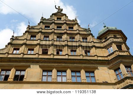 The Renaissance part (1572-1578) of the historic Town Hall (Rathaus) in Rothenburg ob der Tauber in Germany situated on the Marktplatz square. It is one of the finest in southern Germany.