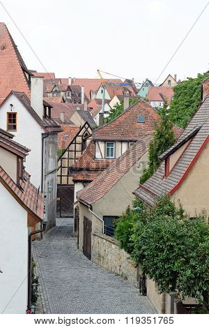 Rothenburg ob der Tauber in Germany. It is one of the best-preserved medieval towns in Europe part of the famous Romantic Road tourist route.