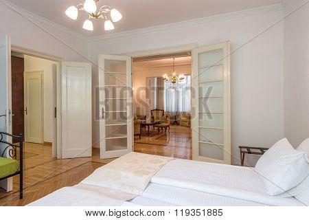 Double bed in luxury specious bedrom interior