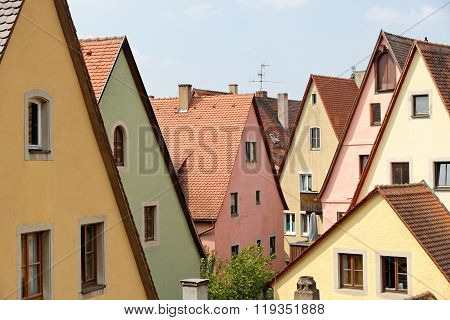 Traditional architecture in Rothenburg ob der Tauber in Germany. It is one of the best-preserved medieval towns in Europe part of the famous Romantic Road tourist route.