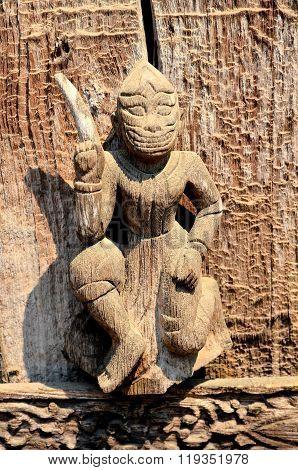 Little Sculpture In Shwenandaw Kyaung Temple Myanmar