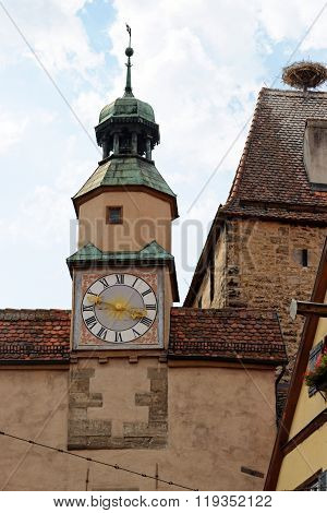 Rothenburg ob der Tauber one of the best-preserved medieval towns in Germany. Markus Tower with Roder arch with its slim clock tower which were part of the town's first fortifications (1200).