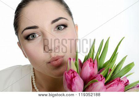 Young Bride Sending A Kiss