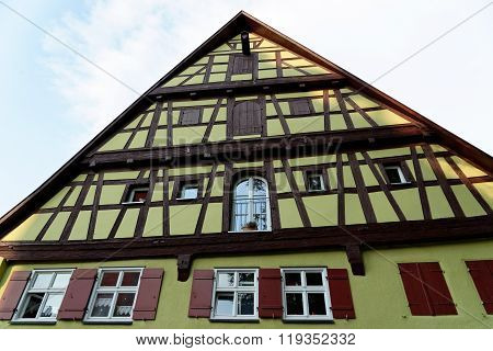 Half-timbered house in the Dinkelsbuhl city center. Dinkelsbuhl is old Franconian town one of the best-preserved medieval urban complexes in Germany.