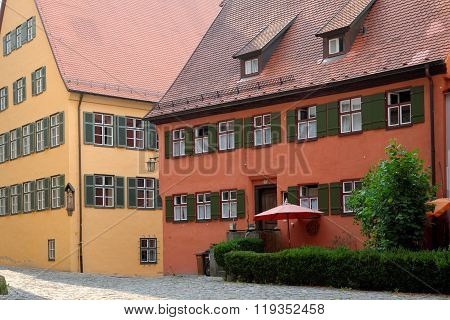 Old traditional houses in Dinkelsbuhl Bavaria Germany. Dinkelsbuhl is old Franconian town one of the best-preserved medieval urban complexes in Germany.