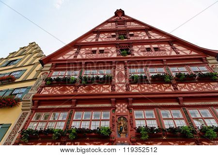 Old traditional house in Dinkelsbuhl Germany. Dinkelsbuhl is old Franconian town one of the best-preserved medieval urban complexes in Germany.