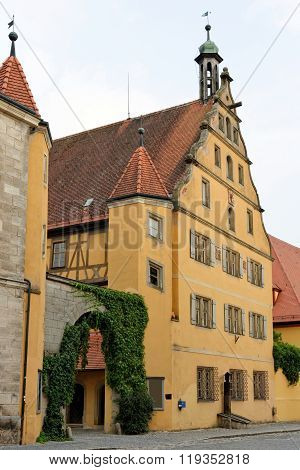 The old town of Dinkelsbuhl in Germany one of the best-preserved medieval towns in Europe part of the famous Romantic Road tourist route.