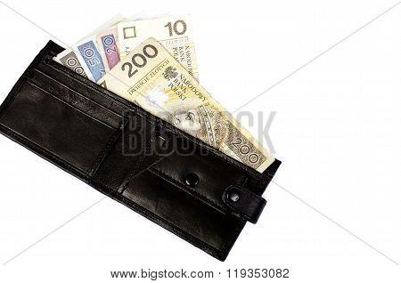 Zloty. Banknotes In Denominations Of 5, 10, 20, 50, 100 In A Black Purse.