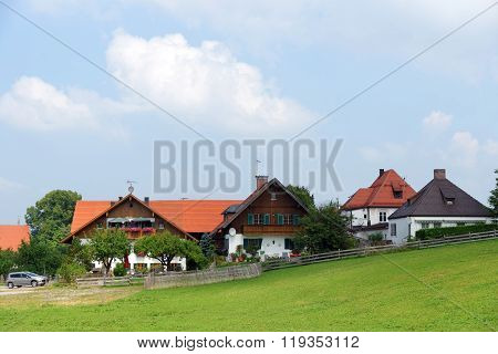 Typical houses in the Bavarian Alps, Germany.