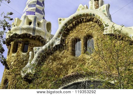 Facade Closeup Zoomed View Of Gingerbread House Of Architect Gaudi In Park Guell