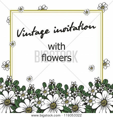 Vintage invitation with flowers for weddings