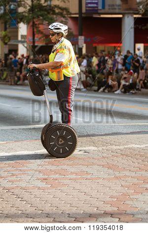 Security Officer Uses Segway At Atlanta Dragon Con Parade