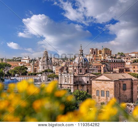 View Of Rome From Roman Forum In Italy