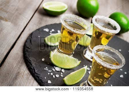 Gold mexican tequila shot