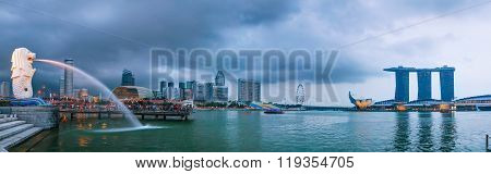 Panoramic Overview Of Singapore With The Merlion And Marina Bay Sands